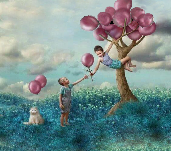 children-with-ballons-and-dog-giving-example